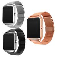 ios için akıllı duvar kağıdı toptan satış-Akıllı İzle Z60 Smartwatches Paslanmaz Çelik Kablosuz Akıllı Saatler Destek Ile Android IOS Için TF SIM Kart Paketi