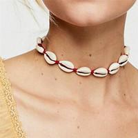 gargantilla sin cuello al por mayor-Boho Sea Shell Gargantilla Collar Mujeres Natural Shell Joyas Chocker Simple Neckless para niñas Kolye Jewellery