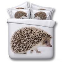 ingrosso ragazzi fasce-3D Hedgehog set di biancheria da letto copripiumini animali copriletto bianco copriletto biancheria da letto Copripiumini biancheria da letto copriletto per adulti ragazzi uomo