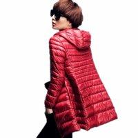abajo abrigos con capucha mujer tallas al por mayor-Chaqueta de plumón más larga 6XL Long Ultra Light Mujeres 2017 Chaqueta de otoño e invierno con capucha delgada Parche de 90% Down Parm Silm