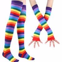 traje de mulher arco-íris venda por atacado-Mulheres Arco-íris Colorido Tutu Saia com Cabelo Unicórnio aro headband leggings meias Conjunto de Luvas Trajes Do Partido de Dança KKA4377