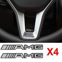 ingrosso adesivi per logo 3d-4pcs lega ALUMINIUM AMG volante Sticker Badge Logo Emblem S66 Spedizione gratuita
