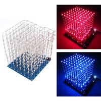 mesas de cubo con luz led al por mayor-Freeshipping 3D LED Light Squared DIY Kit 8x8x8 3mm LED Cube White LED Blue / Red Ray Light PCB Board Lámparas de mesa