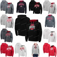 Wholesale baseball jersey hoodie for sale - Group buy Men Ohio State Buckeyes Jerseys Colosseum Big Logo Arch Logo Pullover Hoodies Jerseys Sweatshirts Black White Red Grey