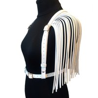 Wholesale sexy leather harnesses resale online - Sexy club accessories Leather Handmade Harness double row Tassel Waist Belts Body Bondage punk Belt Straps Shoulder