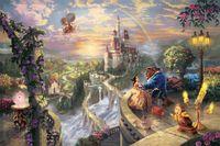 schönheit tier malerei großhandel-Schönheit und Biest von Thomas Kinkade Wanddekoration Poster Gemälde HD Leinwand Wohnzimmer Home Wand Dekoration Stoff Poster