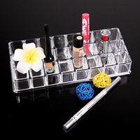 Wholesale Wholesale Makeup Tables - Crystal Clear Storage Box Cosmetic Organizer 24 Grid Tables Cosmetic Storage Display Box Acrylic Makeup Case Stand Rack Holder