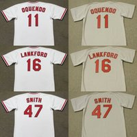 Wholesale Baseball C - men youth 11 JOSE OQUENDO 16 RAY LANKFORD 47 LEE SMITH St. Louis C 1989 Home Baseball Jersey