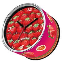 relógios magnéticos venda por atacado-Apenas 6-10 dias chegam aos EUA por E-Packet Air envio 2pcs / lot relógio de morango Fruit projeto imã Relógio de parede pode presentes