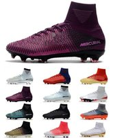 Wholesale purple heel boots - New HIgh Heel Mercurial Superfly V FG Mens Soccer Shoes Ronaldo Football Boots CR7 Mercurial Superfly Men Football Shoes ACC Soccer Cleats