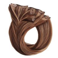 melhores extensões de cabelo humano ondulado venda por atacado-Ondulado clipe em extensão do cabelo Atacado 100% real natural virgem melhor remy cabelo humano Mix cor P4 / 8