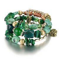 abalorios bohemio al por mayor-AY Bohemian Beads Crystal Charms Pulseras Para Mujeres Étnico Tíbet Multilaminar Imitación de Piedra Natural Pulseras Brazaletes de Regalo