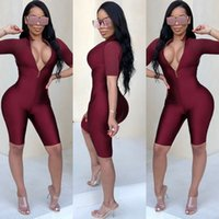 trajes de club de mujeres al por mayor-Sexy Body Mujeres manga corta Playsuit Cremallera trasera Bodycon Jumpsuit corto mamelucos Womens Jumpsuit Party Club Body Femme