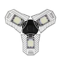 plafones interiores al por mayor-60W E27 Deformable luz led Lámpara de interior plegable de alto brillo en forma de abanico 2836 led chips Luz de techo para garaje / sótano