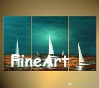 peintures voiliers achat en gros de-100% peint à la main panneau mural couteau de palette moderne voilier art peintures à vendre art beauté citations peinture acrylique pour toile art décor