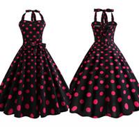 vintage siyah polka nokta elbise toptan satış-1940 s Vintage Kırmızı ve Siyah Polka Dot Yaz Kolsuz Casual Elbise Ekip Boyun Diz Boyu Rockabilly Kadınlar Partisi Elbise FS3847