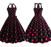 ingrosso abiti neri di polka dots-1940s vintage rosso e nero a pois estate senza maniche vestito casual girocollo lunghezza al ginocchio rockabilly donne party dress FS3847