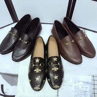 Wholesale horsebit loafers - Designer Women Leather Flats Mules embroidered bee leather Horsebit loafer girl flat with buckle Size 35-41 With box Many colors in stock
