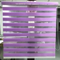 mavi ışık kesici toptan satış-Zebra Jaluzi Yatay Pencere Gölge Çift katmanlı Stor Perde Pencere Özel Boyut Kesme Oturma Odası için Işık Mor Perdeler