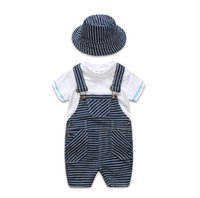 Wholesale handsome boy short kids resale online - romper sets INS summer new style kids short sleeve high quality cotton Casual t shirt Handsome striped straps hats three sets