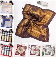 Wholesale scarf hair wraps - Designer 100% Silk Headband Scarf for Women Fashion Luxury Brand 50*50cm Square Scarf Shawl Wraps Hair Bands gifts