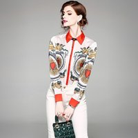 Wholesale Hearts Blouses - Women Shirts Tops Print Heart Lapel Neck Long Sleeve Spring Casual Blouse Ladies Elegant Slim Shirt