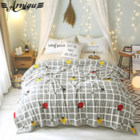 Wholesale king sized blankets for sale - Group buy ARNIGU Strawberry plaid print Blanket bedspread Fleece Nap sofa Throws Single Twin Double Queen size winter soft bedsheet gray