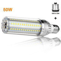 Wholesale bulb large online - 50W Super Bright Corn LED Light Bulbs W Equivalent E26 with E39 Large Mogul Base Adapter Cold White Lumens for Large Area Lighting