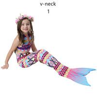 Wholesale child girl suit design - New Design Fashion Girls Swimming Mermaid Tail Children Swimsuit For Girls Two-piece Dress Swimwear Sport Suit Child Bikini Bathing Suit