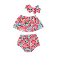 Wholesale wholesale toddler girl tank - 2018 INS baby girl toddler 3piece set outfits Watermelon Tank Tops Shirts Vest + Shorts Pants Bloomers wtih Bow headband Summer sets
