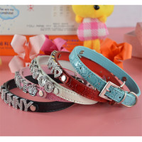 Wholesale dog collar charms letters resale online - Pu Crocodile Grain Dog Collar Diy Personality Cat Charm Ornament Letter Lucky Nice Soft Pet Supplies hq Ww