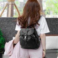 sac à dos coréen achat en gros de-2017 début de l'été nouvelle mode coréenne sacs à main de haute qualité solide en cuir noir Voyage Big Backpack