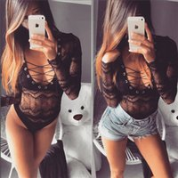 Wholesale neck tie solid online - Spring Sexy Women Jumpsuits Women Lace Slim Bandge Tie V Neck Long Sleeves Bodysuit Hollow Out Tank Vest Rompers For Sales