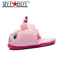 Wholesale boys home slippers - MVP BOY New Arrival Halloween Unisex Unicorn Cotton Home Slippers Chausson Licorne Indoor Christmas Women Slippers Shoes