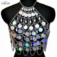 Wholesale rave necklace - Chran Holographic Discs Sequins Crop Top Belly Waist Belt Mirror Chain Necklace Rave Bra Bralete Festival Wear Jewelry CRS413