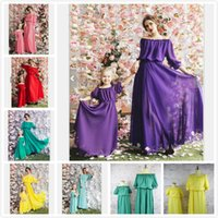 Wholesale matches fashion mom daughter clothes resale online - New Mother and Daughter Matching Dress Chiffon Puff Sleeve Off Shoulder Temperament Dress Colors Daughter Mom Clothing