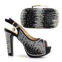 Wholesale elegant high heels for women - 2018 New Elegant Women's Shoes And Bag Set Free Shipping Italian Shoes With Matching Bags For Party Wedding Pumps Summer Sandals