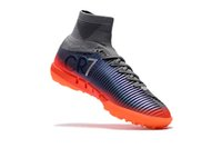 Wholesale high ankle shoes men height for sale - 2018 Original Grey Orange CR7 Flat Soccer Cleats Mercurial Superfly V TF SX Neymar JR Indoor Kid Soccer Shoes High Ankle Football Boots
