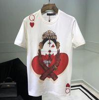 reina camisetas al por mayor-Poker Printed Woman Queen T Shirt 2018 Primavera Verano Moda 100% algodón de manga corta Mujer Camiseta Nueva camiseta Femme