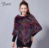 e5b9402ca 2018 Hot Sale Knitted 100% Natural real Fur Shawl Fashion Black Rabbit Fur  Poncho and capes Women Cape Genuine Pashmina Female Y18102010