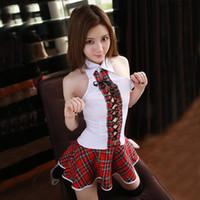 japanese seksi üniforma okul toptan satış-2018 Yeni Seksi Japon Okulu Kız Kostüm Kadın Schoolgirl Kostüm Üniforma Lingerie Seksi Sıcak Erotik Fantasia Homme Rol yapma Y18102206