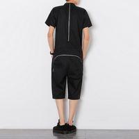 Wholesale jumpsuit harem overall - Zipper Jumpsuit Men Summer Men Designer Overall Slim Fit Mens Pants Fashions Men One Piece Shortset 2018 erkek pantolon