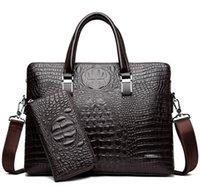 luxus business aktenkoffer mann großhandel-Crocodile PU Leder Aktentaschen 2018 Business-Laptop-Tasche für Männer hochwertige Luxus Designer Herren Handtasche kaufen ein erhalten zwei zwei Geldbeutel kostenlos senden