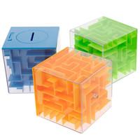 Wholesale Money Puzzles - 9pcs lot Color Box 3 Color Children's Puzzle Magic Maze Money Cans Intellectual Development 3D Three-Dimensional Maze Cube Toys Puzzle Box