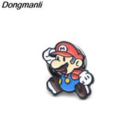 Wholesale anime clothing accessories online - W5270 Games Mario Bros Collar Enamel pins Hot Classic Cartoon Anime Cute Super Mario Gift Animal Brooch Clothing Accessories