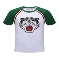 Wholesale slim fit blouse - Summer Tiger Print designer T-shirts Cotton Italy Luxury t shirt Mens Slim Fit Casual tee shirts Short Sleeve blouses polos shirt Green