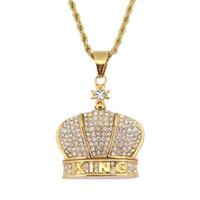 roi corde achat en gros de-Bijoux en acier inoxydable Hip Hop KING Couronne Pendentif Collier chaîne de corde 24 pouces SN102
