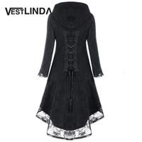 Wholesale Long Black Coat Gothic - VESTLINDA Women Winter Black Coats Gothic Asymmetric Overcoat Hooded Lace Up High Low Overcoat Womens Outerwear Long Tops M-2XL