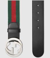 impresión de cajas de metal al por mayor-Cinturón web con hebilla Print Style 411924 H917N 1060 Cinturón reversible New Official Men Cinturón con caja