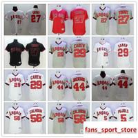 6b55dfa97 2019 Mens Angels 27 Mike Trout 29 Rod Carew 44 Reggie Jackson 56 Kole  Calhoun baseball Jerseys color red white gray black top quality